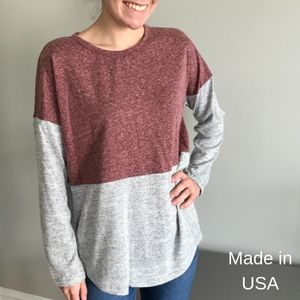 Color block pink and gray long sleeve top